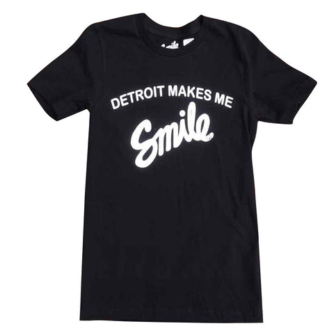 Detroit Makes Me Smile T-Shirt - Black