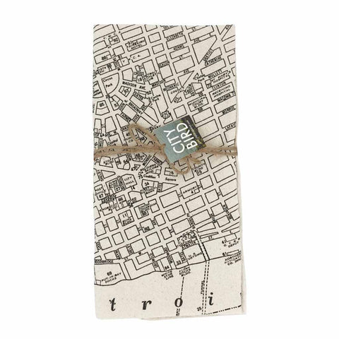 Vintage Detroit Map Tea Towel