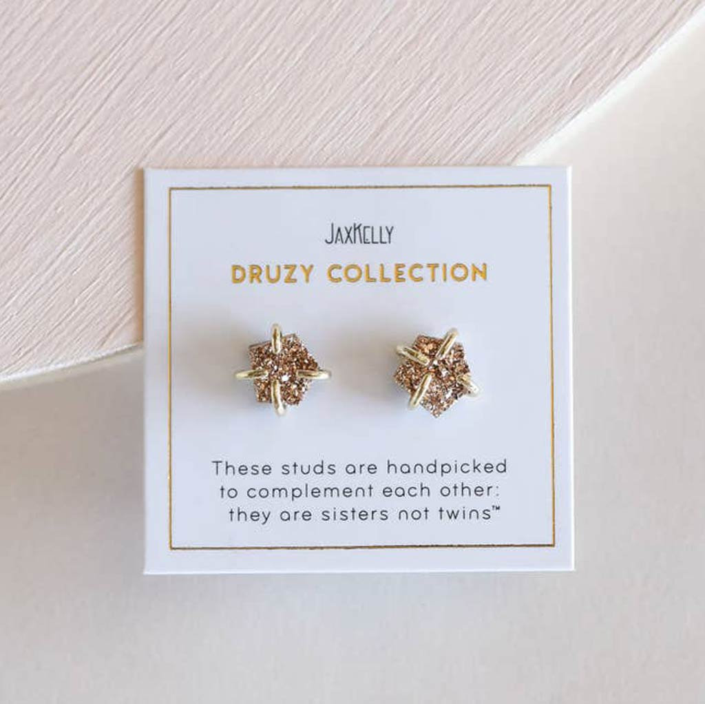 Rose Gold - Druzy Prong Earrings