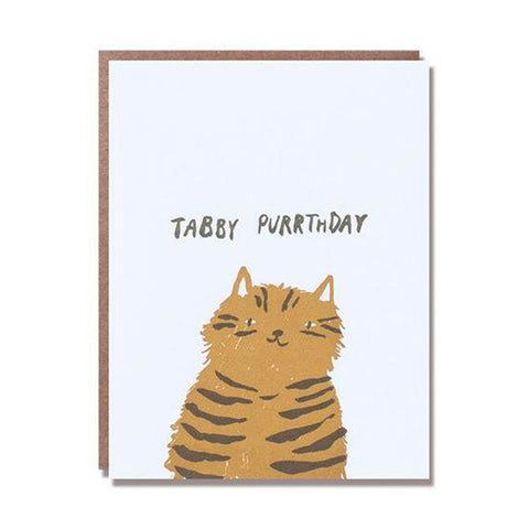 Tabby Purrthday Letterpress Card - City Bird