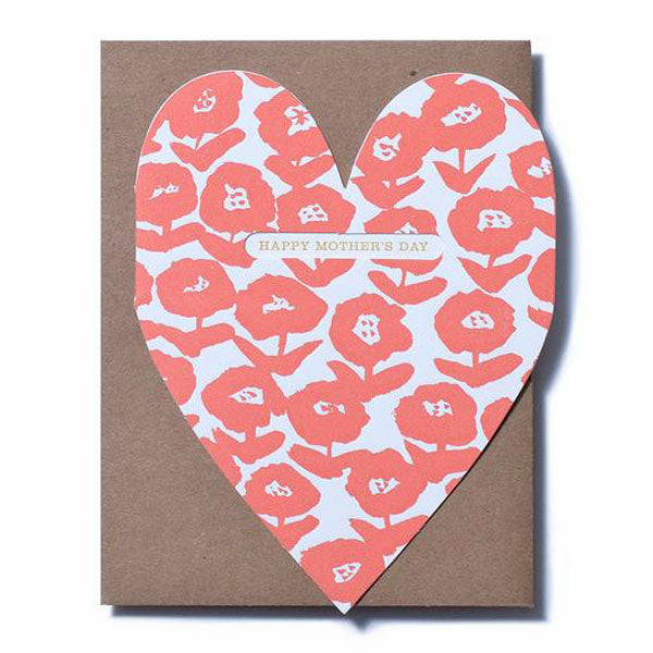 Bold Flower Mom heart Card - City Bird
