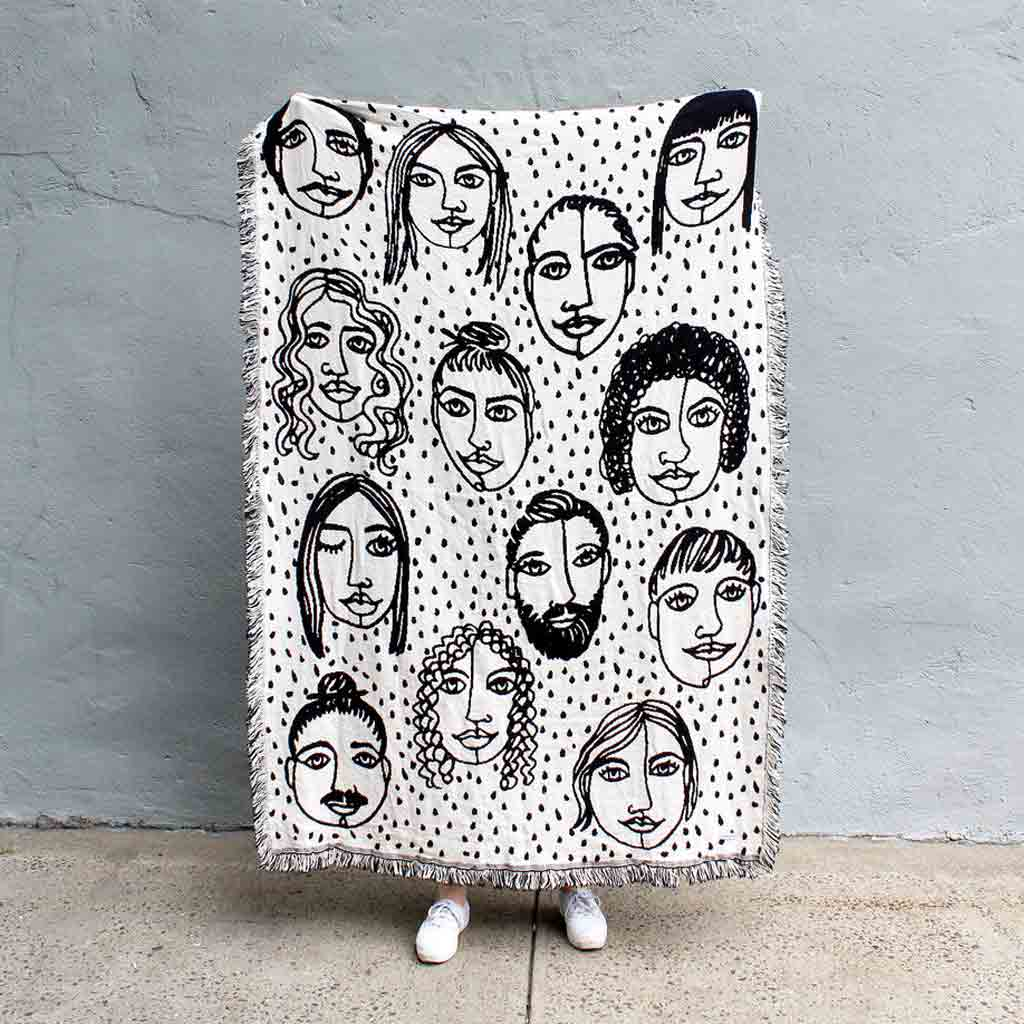 Friends B&W Reversible Throw - City Bird