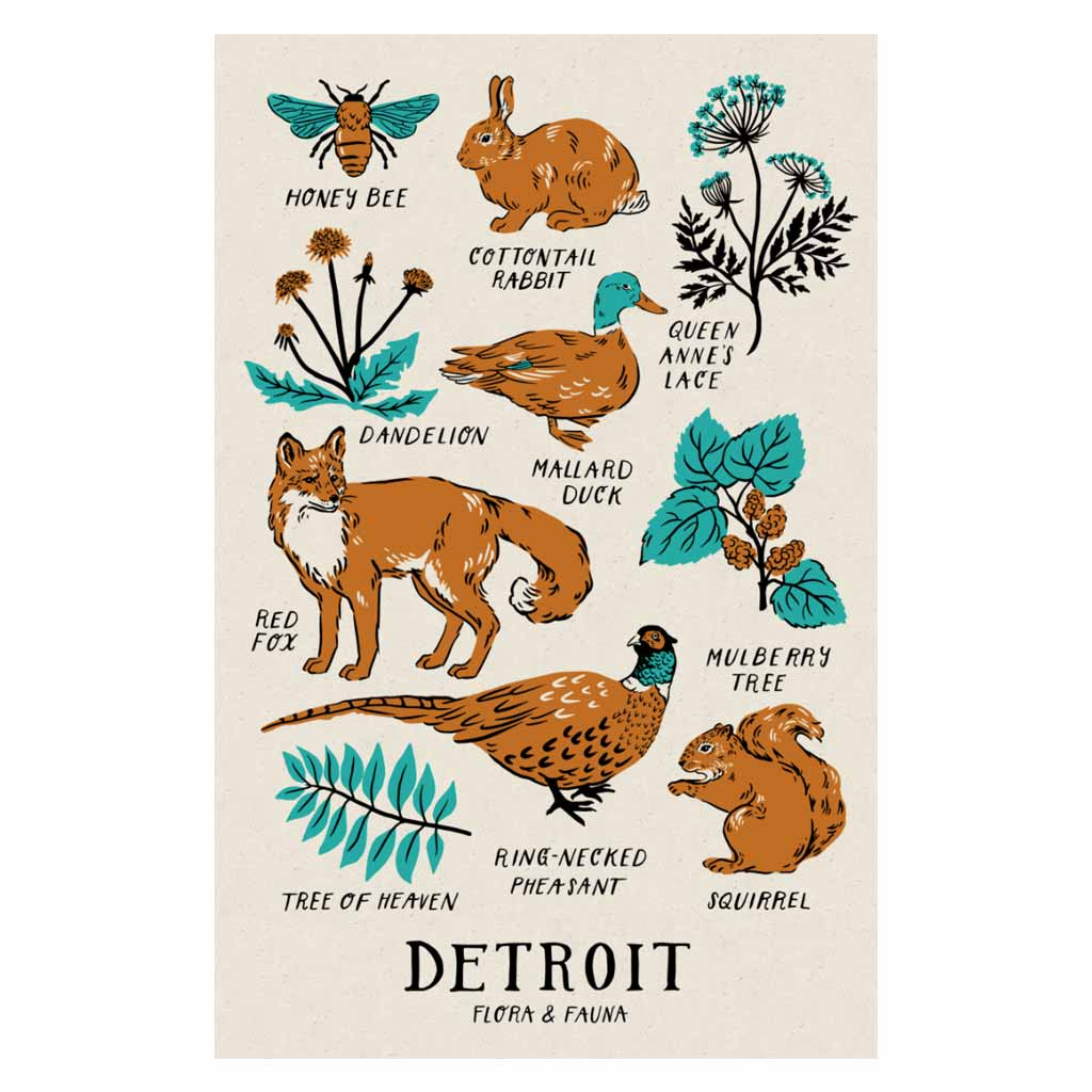 Detroit Flora And Fauna Print (Silkscreened - City Bird