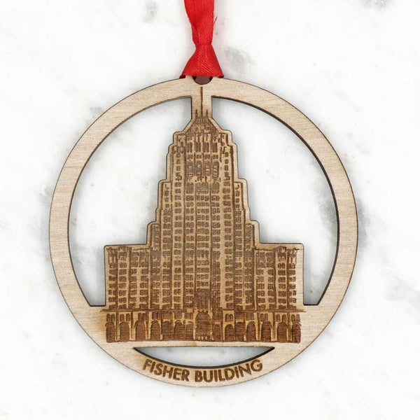 Wood Detroit Building Ornament - City Bird