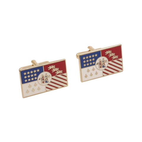 Detroit City Flag Cloisonne Cuff Links - City Bird