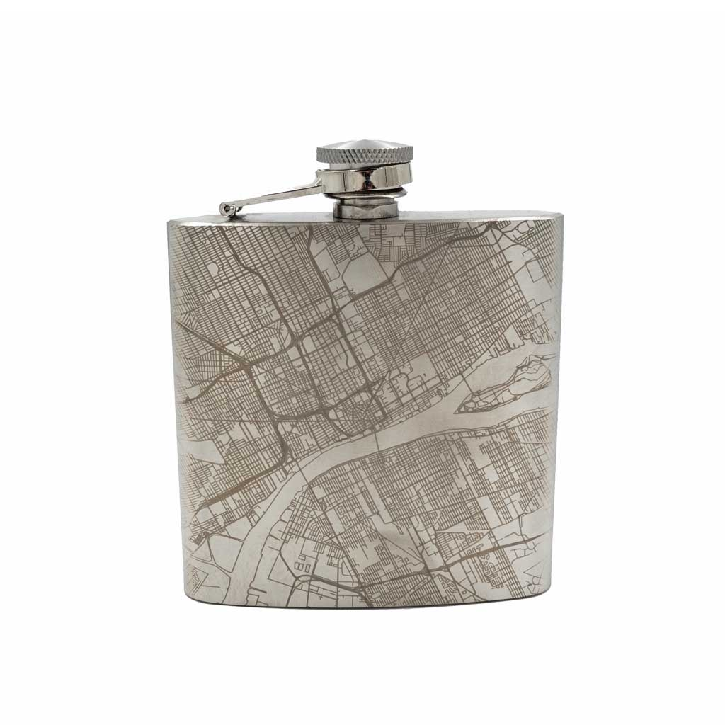 Detroit City Map Hip Flask - City Bird