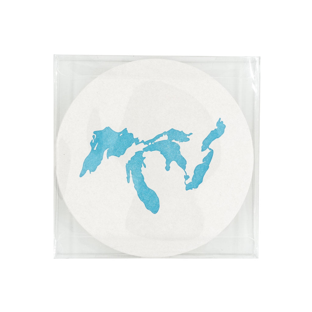 16 Great Lakes Letterpress Coasters - City Bird