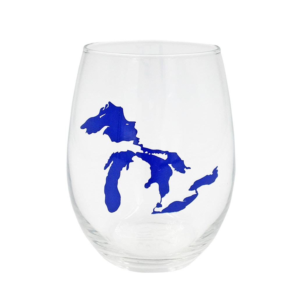 Great Lakes Stemless Wine Glass - Blue