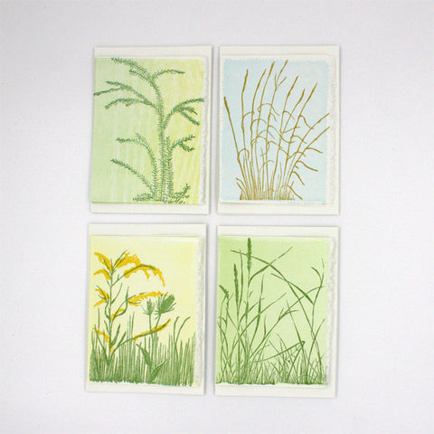 Block-Printed Open Fields Notecards by Gwen Frostic - City Bird