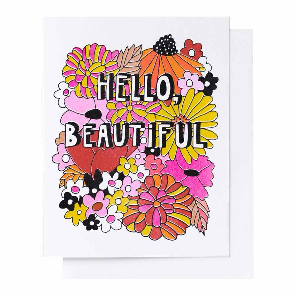 Hello Beautiful Floral Riso Card - City Bird