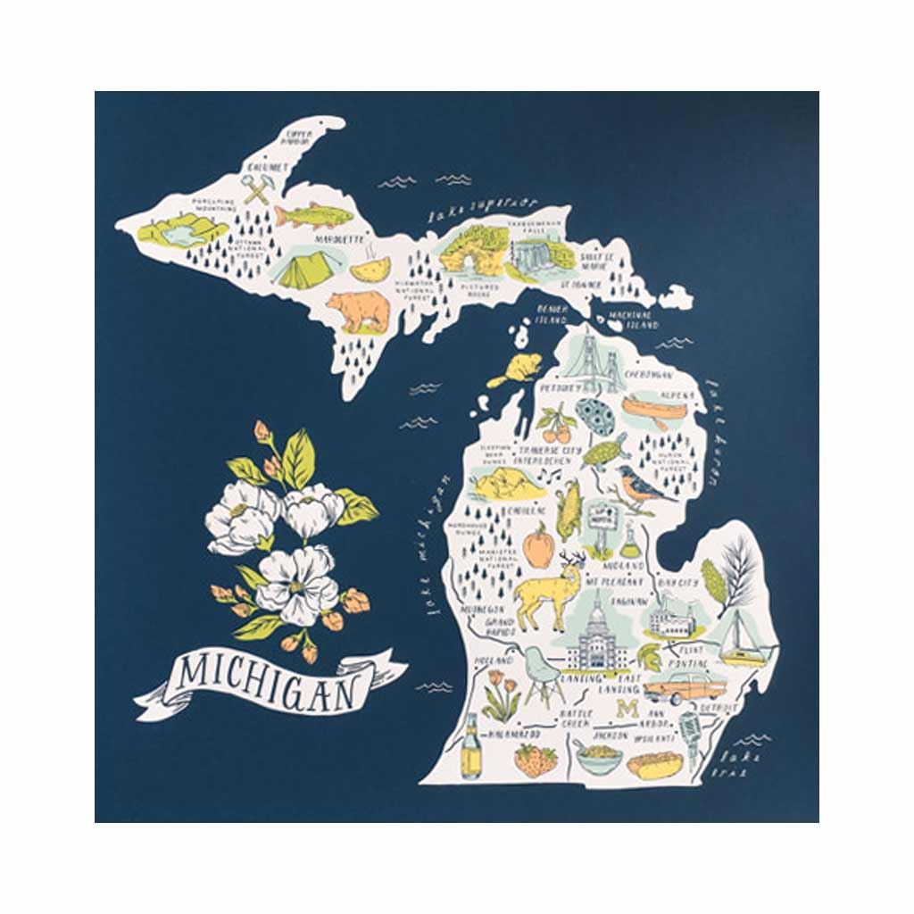 Illustrated Michigan Map Silkscreened Art Print - City Bird