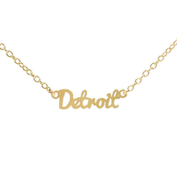 Gold Detroit Script Necklace - City Bird