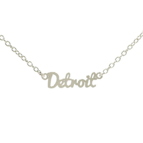 Silver Detroit Script Necklace - City Bird