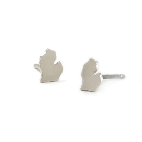 Michigan Charm Earrings Silver - City Bird