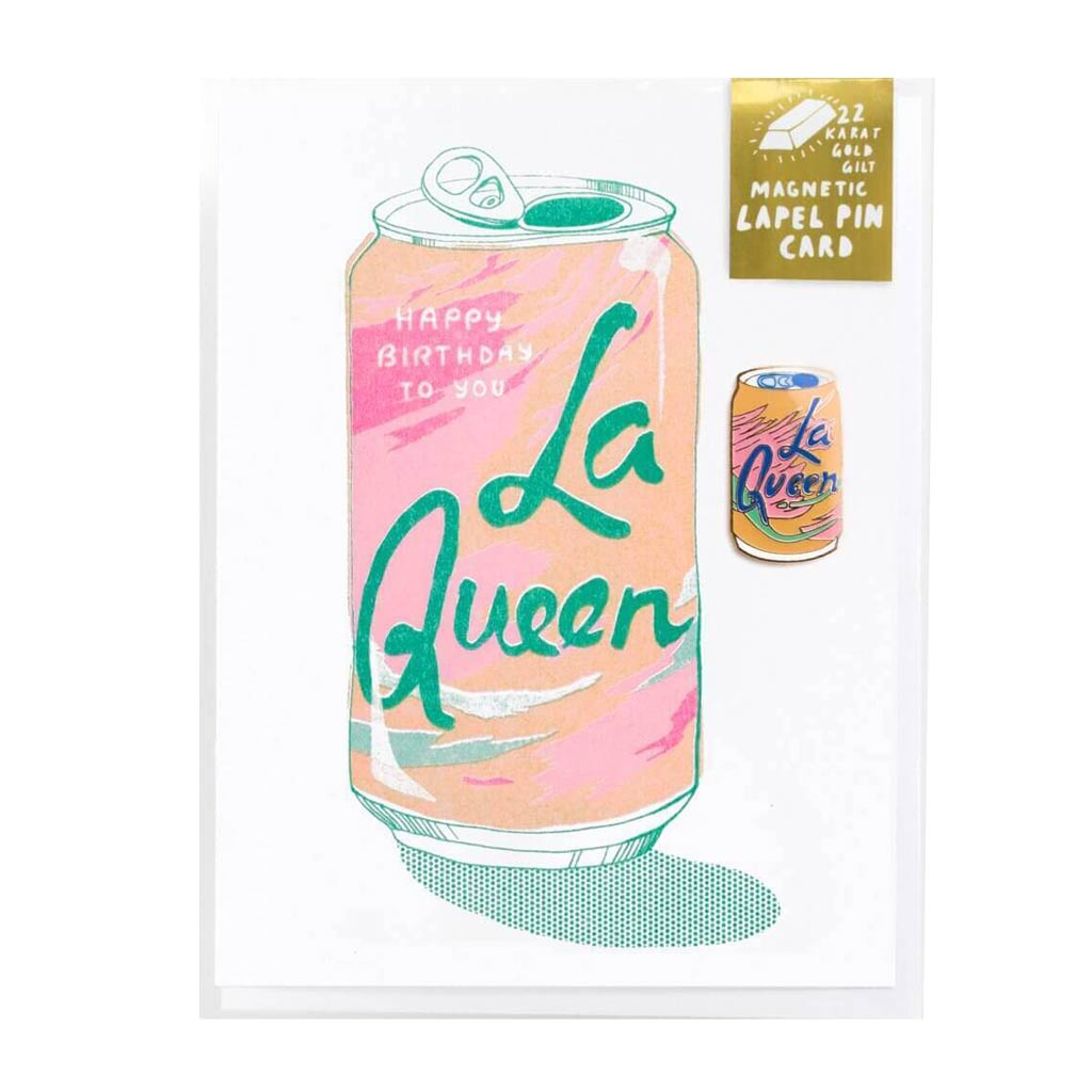 La Queen Risograph Card w/ Magnetic Lapel Pin - City Bird