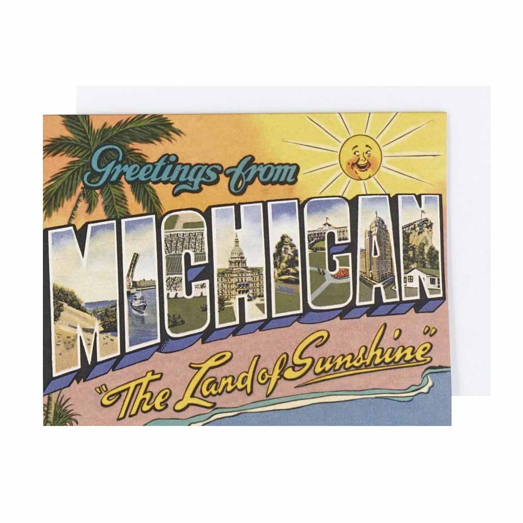 Greetings From Michigan Land of Sunshine Card - City Bird