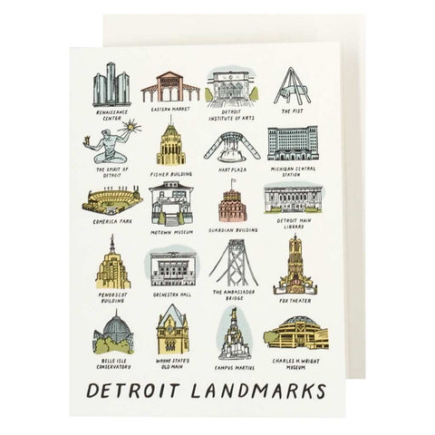 Detroit Landmarks Letterpress Card - City Bird
