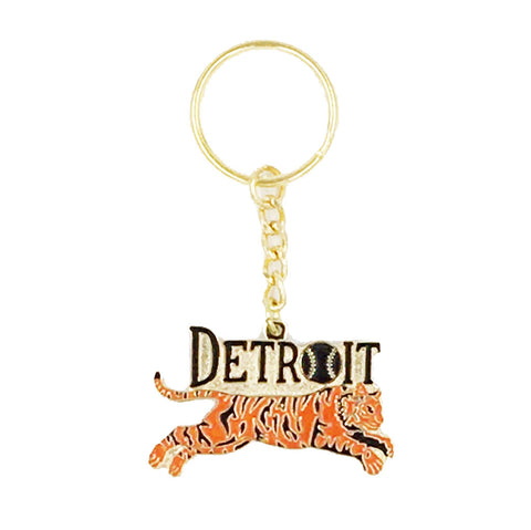 Leaping Tiger Enamel Keychain