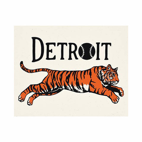Detroit Leaping Tiger 8 x 10 Silkscreened Print - City Bird