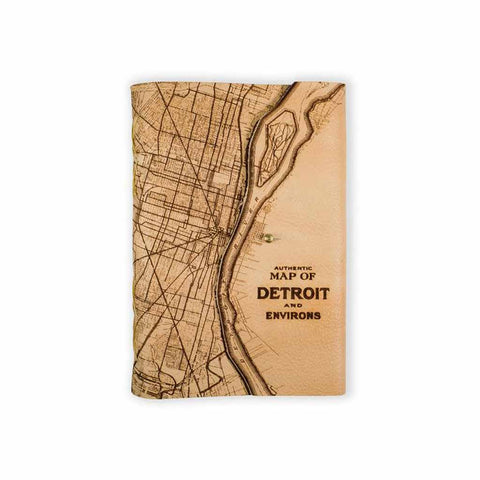 Detroit Map Leather Journal