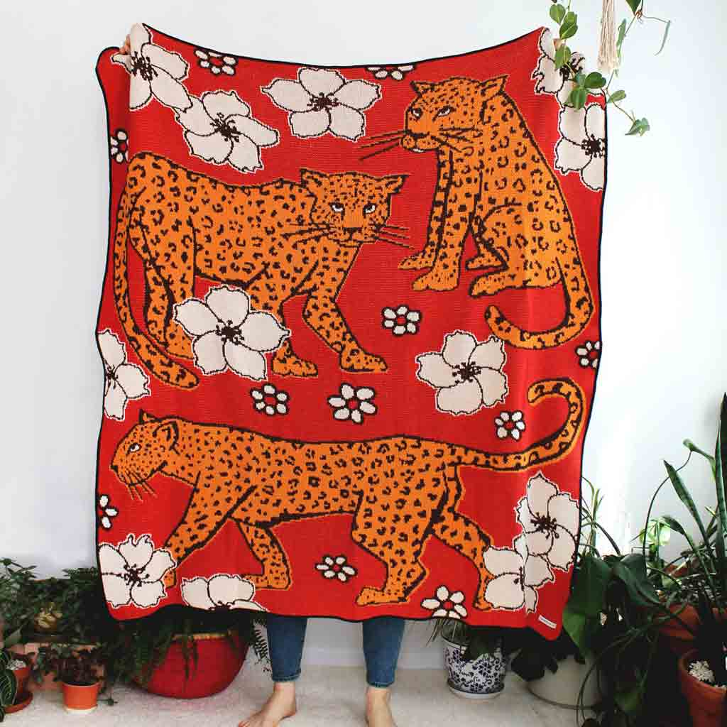Leapords In Flower Patch - Knit Blanket - City Bird