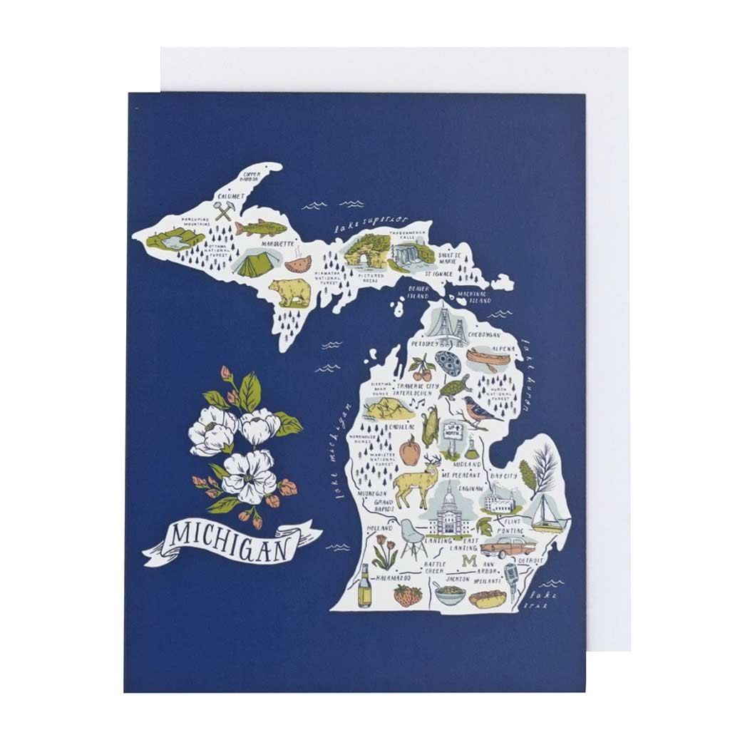 Illustrated Michigan Map Card - City Bird