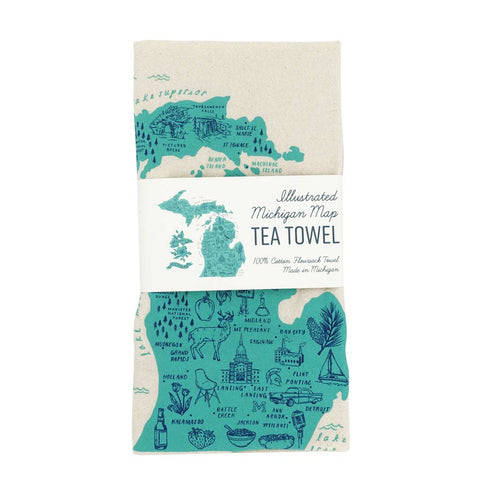 Michigan llustrated Map Tea Towel