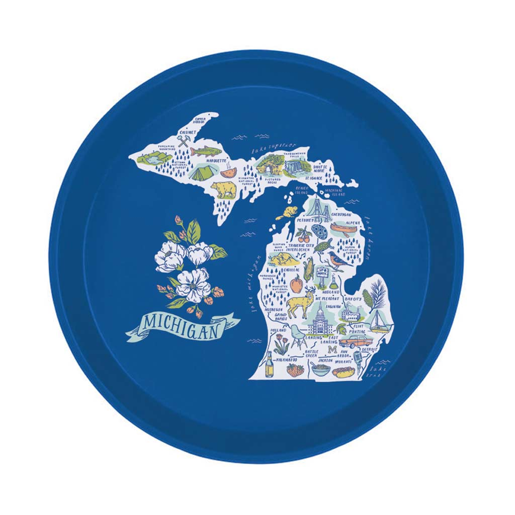 Illustrated Michigan Map Cocktail Tray - City Bird