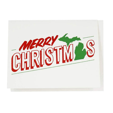 Michigan Merry Christmas Letterpress Cards - Set of Six