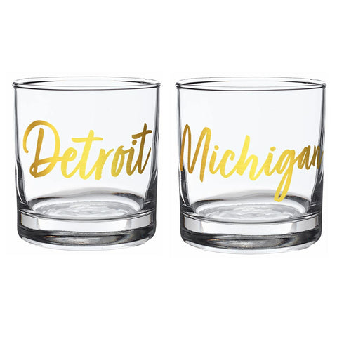 Michigan Cities Metallic Rocks Glasses
