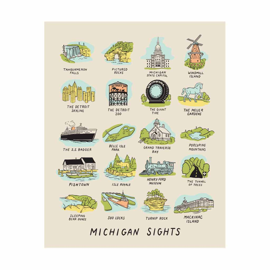 Michigan Sights Silkscreened Print
