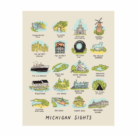 "Michigan Sights Silkscreened Print (8""x10"")"