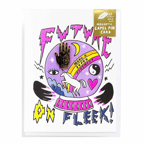 Future On Fleek Risograph Card w/ Mystic Hand Magnetic Lapel Pin - City Bird