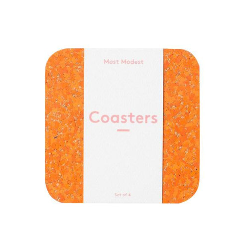Orange Rubber Coasters - City Bird