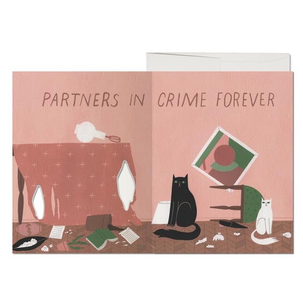 Cat Crimes French Fold Foil Friendship Card - City Bird