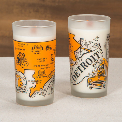 Detroit Souvenir Frosted Woodwick Candle - City Bird