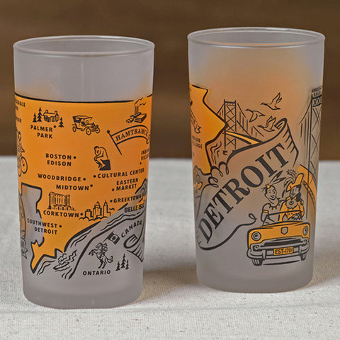 Detroit Souvenir Frosted Glass - City Bird