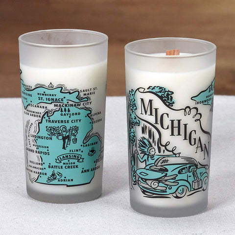Michigan Souvenir Frosted Woodwick Candle - City Bird