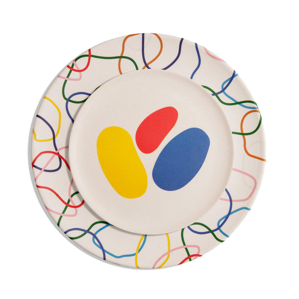 Bamboo Salad Plate Set - Abstract - City Bird
