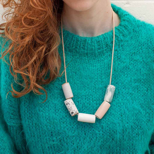 Blush/Marble Ceramic Necklace - City Bird