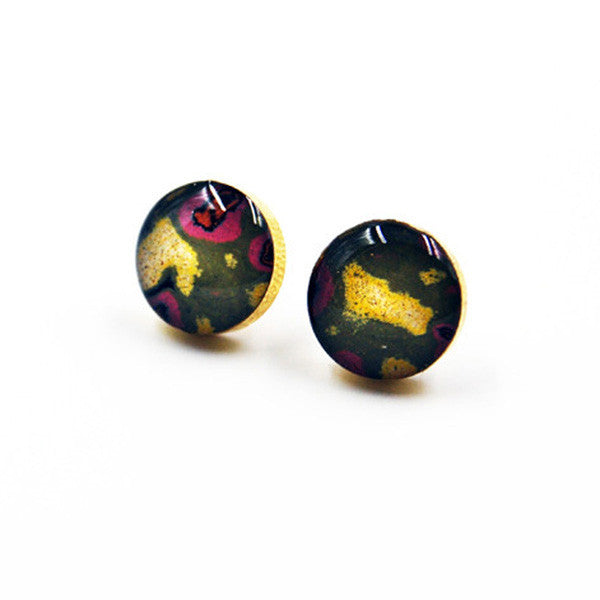 Rebel Nell Brass Graffiti Earrings - City Bird