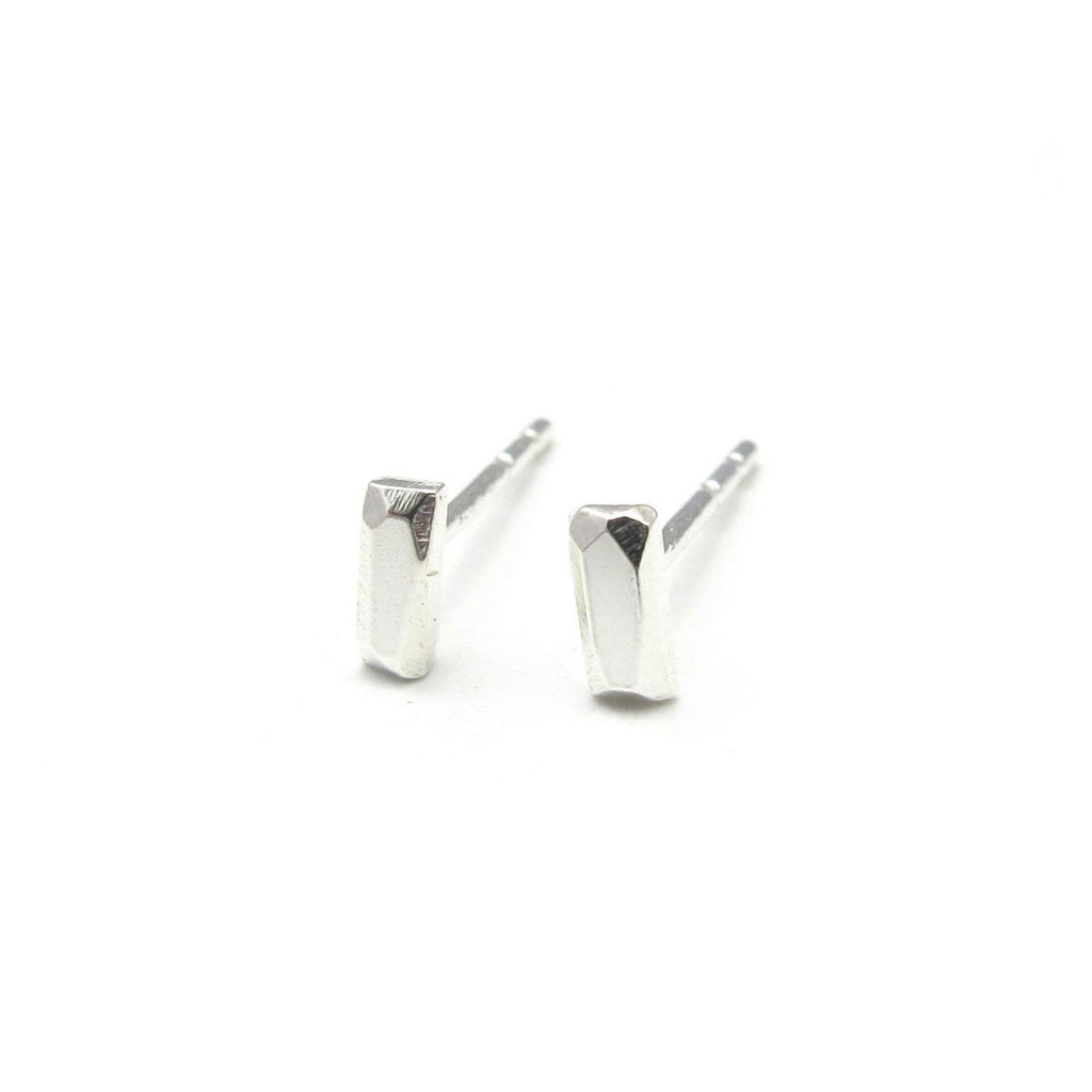 Sterling Silver Rectangle - Faceted Nugget Studs - City Bird