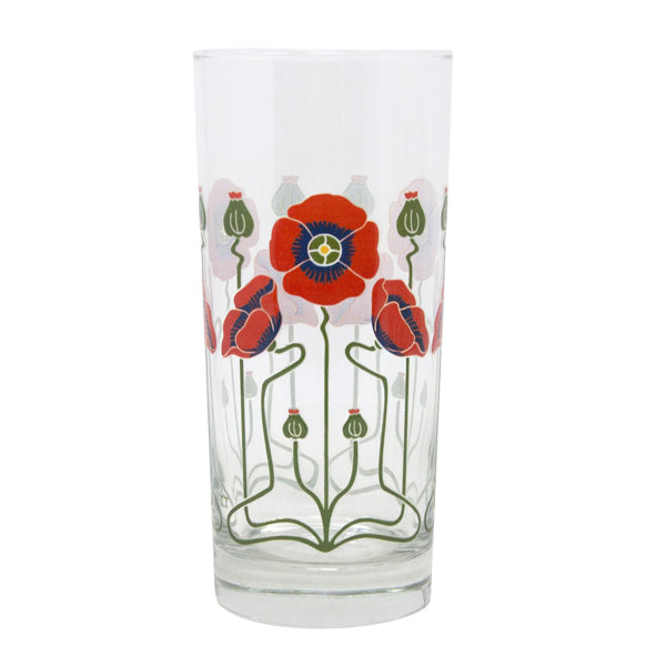 Red Poppy Collins Glass
