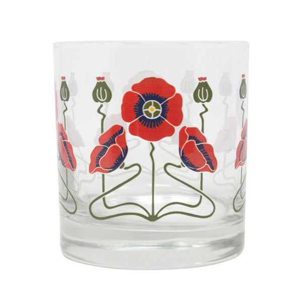 Red Poppy Rocks Glass