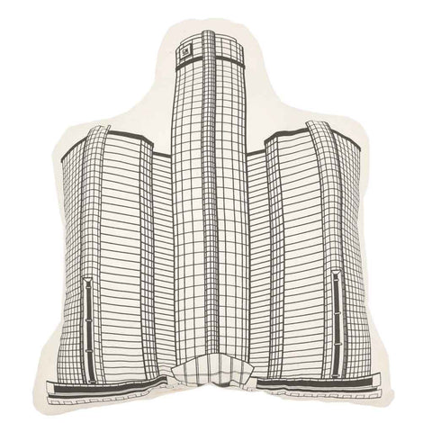 Renaissance Center-Shaped Building Pillow (RenCen) - City Bird