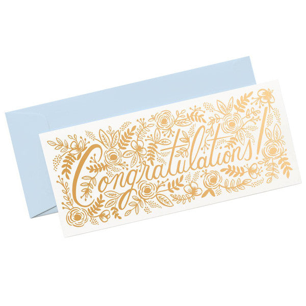 Champagne Floral Congrats Card - City Bird