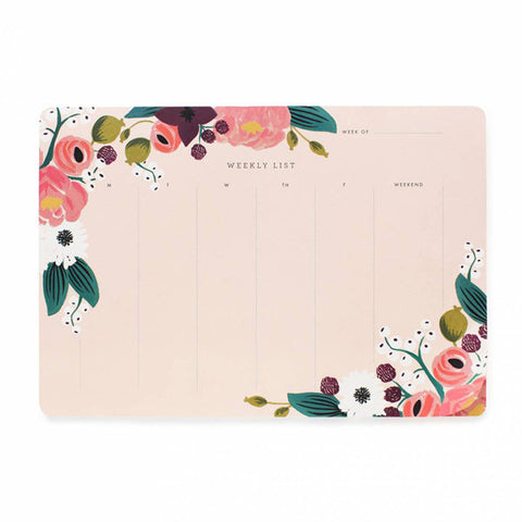 Pink Floral Weekly Desk Pad - City Bird