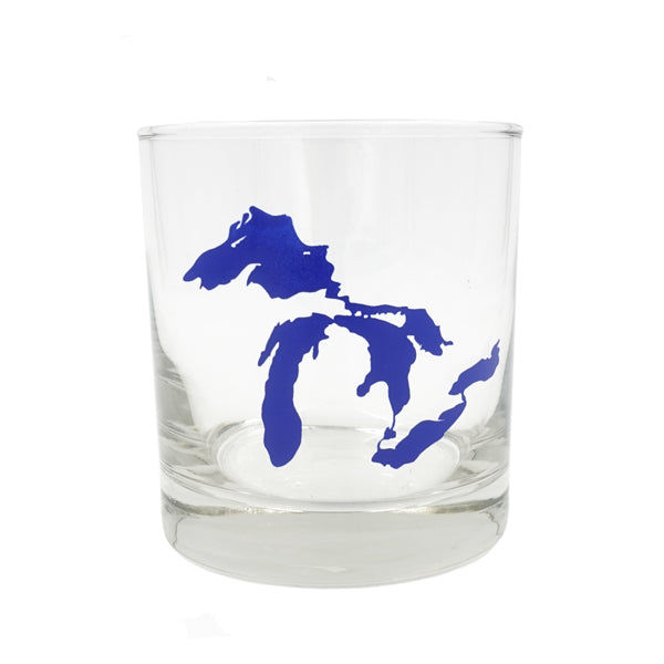 Great Lakes Printed Rocks Glass - Dark Blue