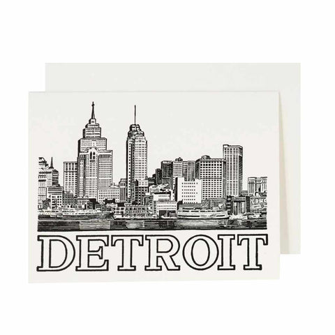 Detroit Historic Skyline Letterpress Card - City Bird