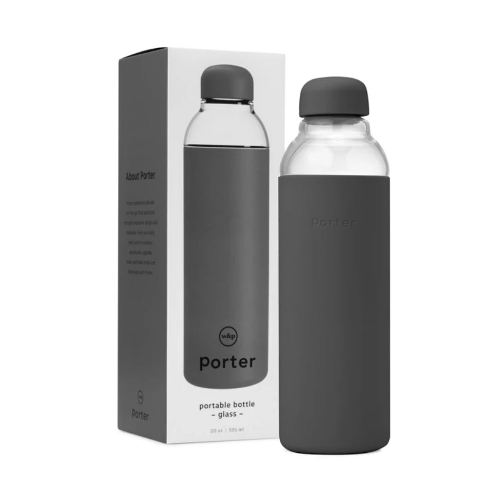 Glass Water Bottle - Charcoal - City Bird
